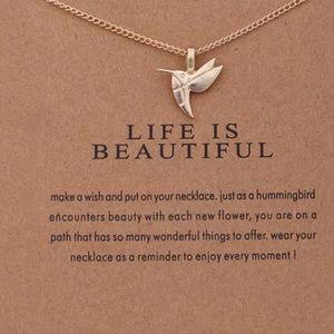 Hummingbird Life Is Beautiful Necklace